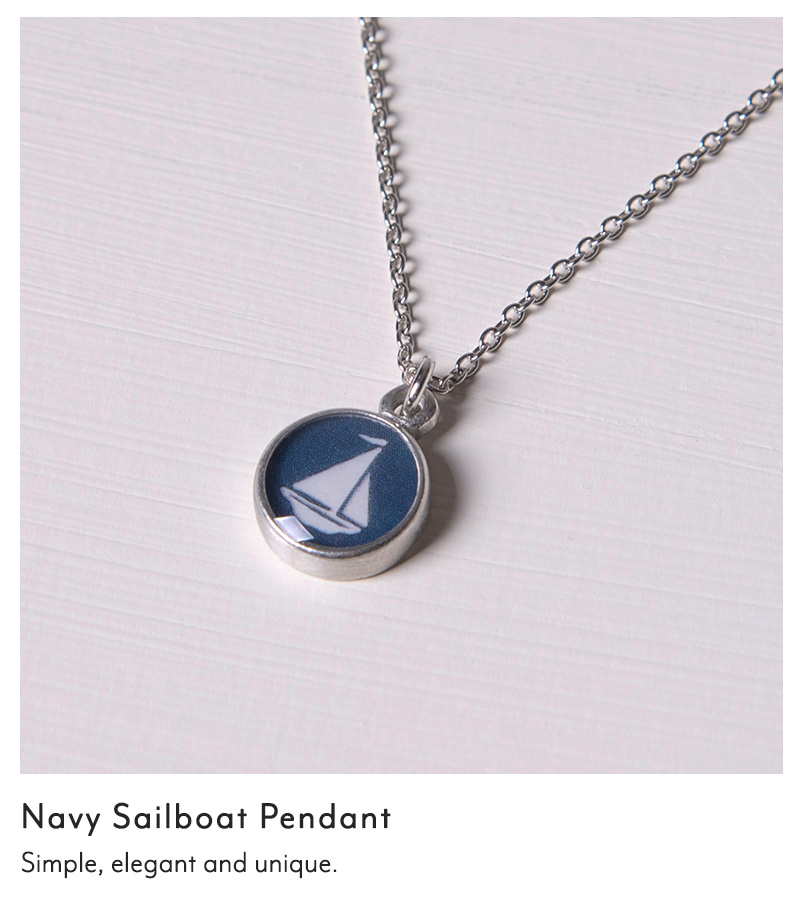 Navy Sailboat Pendant